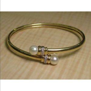 Jewelry - 14K Y Gold Flex Cuff Bracelet Pearls Diamonds